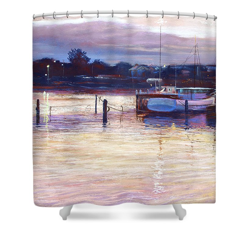 Lynda Robinson Shower Curtain featuring the pastel Harbour Lights - Apollo Bay by Lynda Robinson