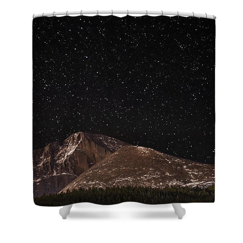 Longs Peak Shower Curtain featuring the photograph Hardened With Time by Jon Blake