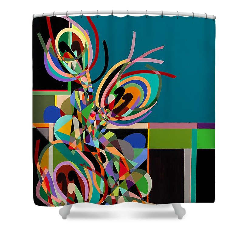 Landscape Shower Curtain featuring the painting Harlequin by Allan P Friedlander
