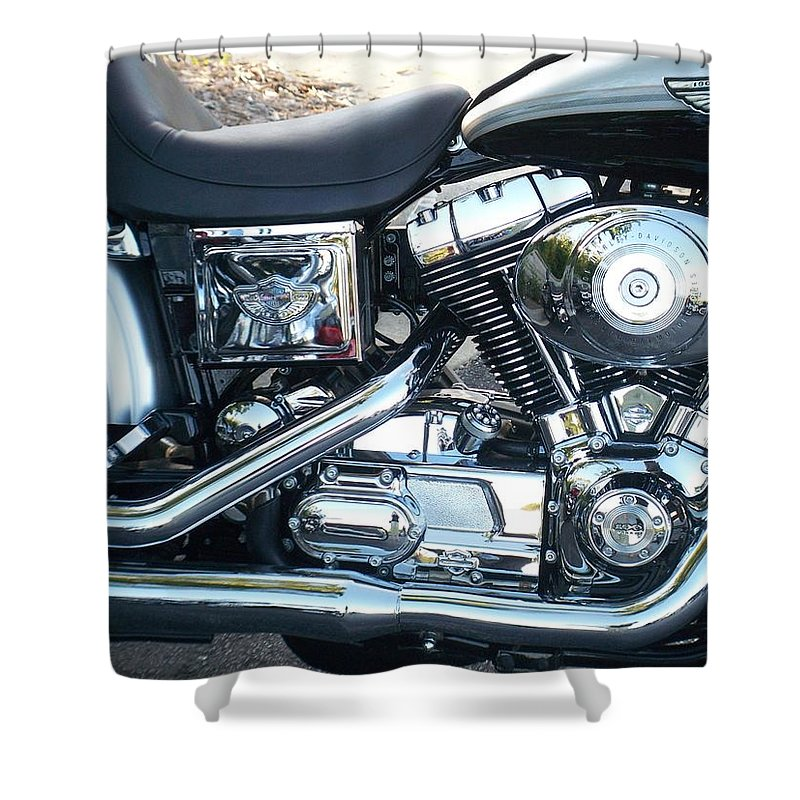 Motorcycles Shower Curtain featuring the photograph Harley Black And Silver Sideview by Anita Burgermeister