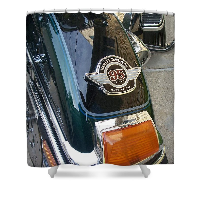 Motorcycles Shower Curtain featuring the photograph Harley Close-up Tail Light by Anita Burgermeister