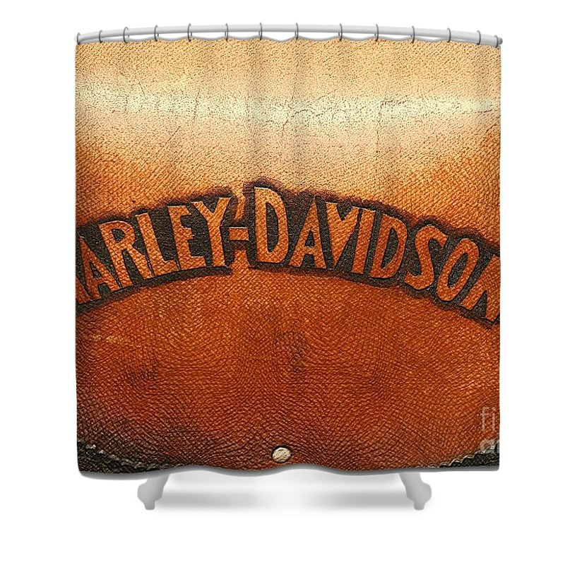 Harley Davidson Shower Curtain Featuring The Photograph Harley Davidson  Leather Tool Bag By Stefano Senise