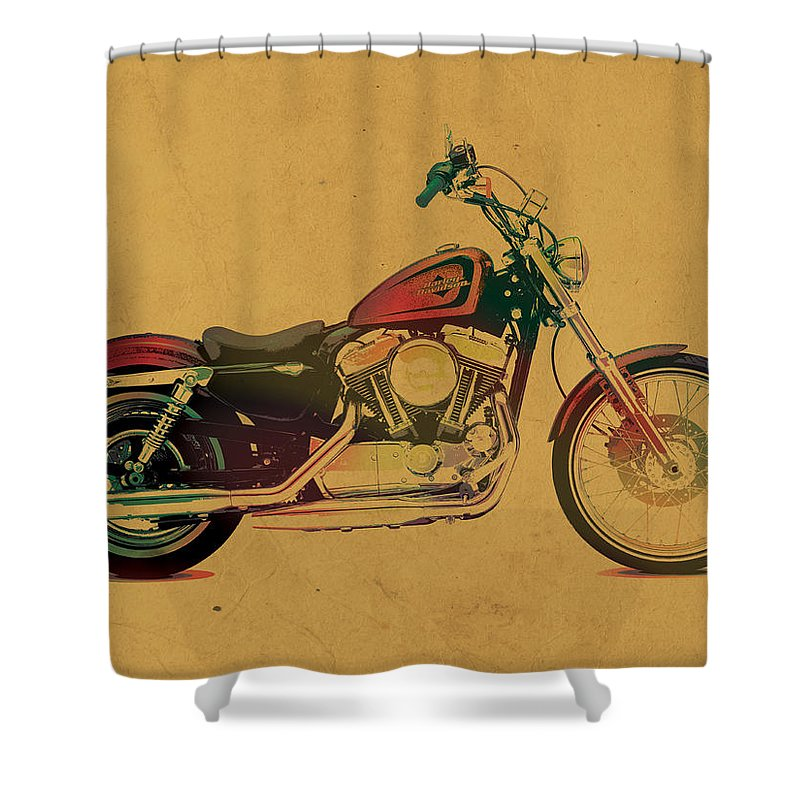 Harley Shower Curtain Featuring The Mixed Media Davidson Motorcycle Profile Portrait Watercolor Painting On Worn