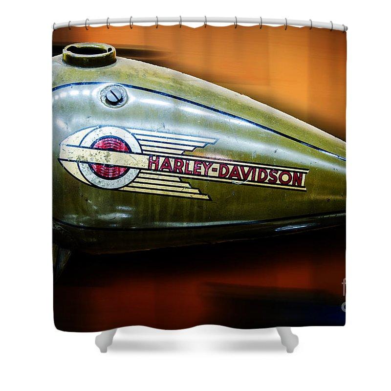 Harley-davidson Shower Curtain featuring the photograph Harley-davidson Tank Logo by Paul Mashburn