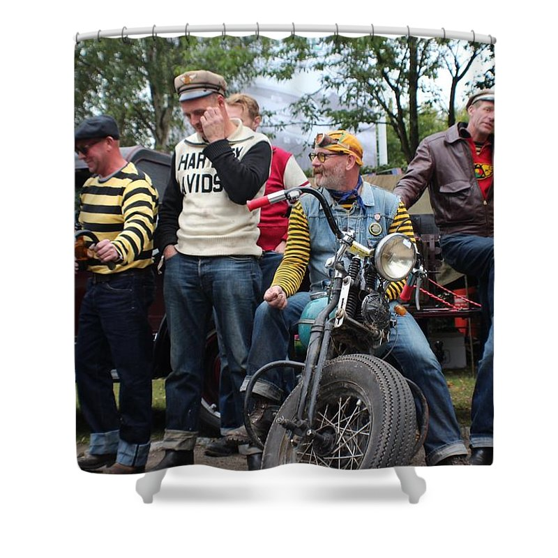 Harley Shower Curtain featuring the photograph Harley Gang by Robert Phelan