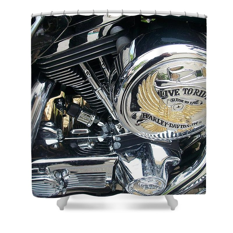 Motorcycles Shower Curtain featuring the photograph Harley Live To Ride by Anita Burgermeister