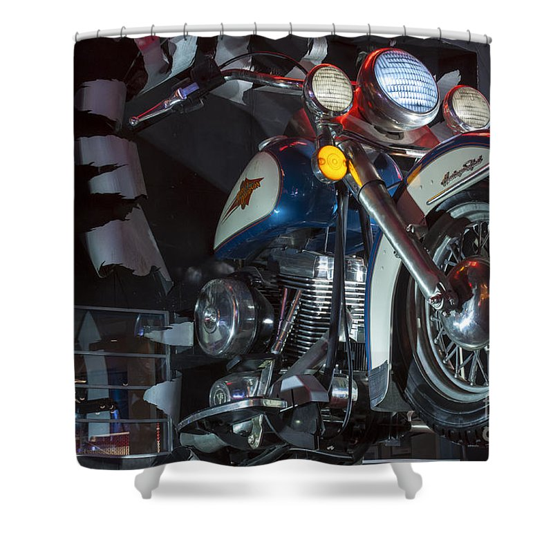 Las Vegas Nevada Harley Davidson Display Displays Motorcycle Motorcycles Store Stores Still Life Shower Curtain featuring the photograph Harley Of Vegas by Bob Phillips
