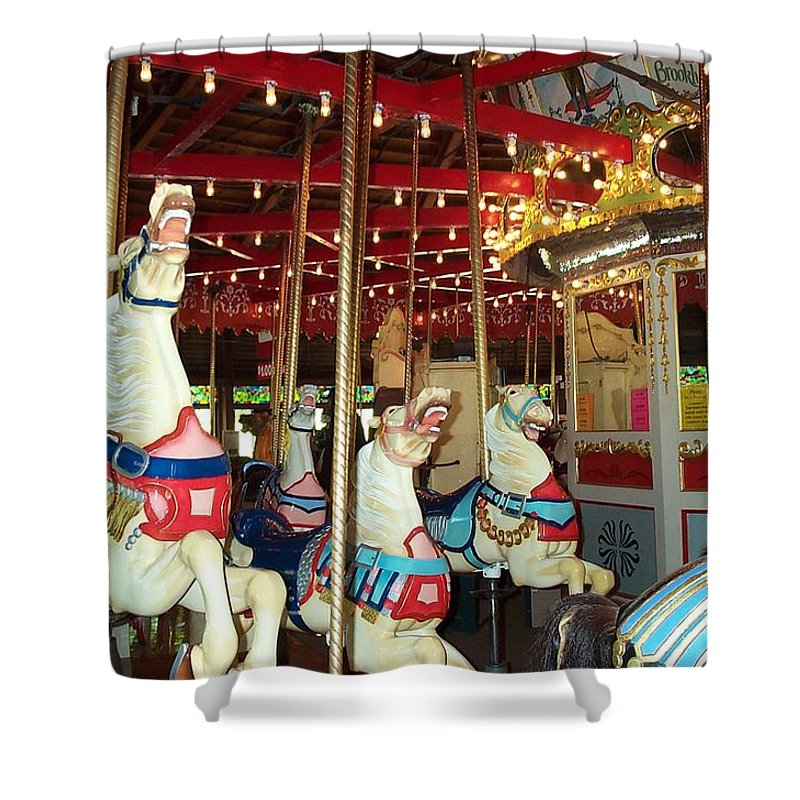Carousel Shower Curtain featuring the photograph Hartford Carousel by Barbara McDevitt