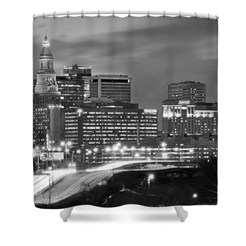Hartford Skyline At Night Shower Curtain featuring the photograph Hartford Skyline At Night Bw Black And White Panoramic by Jon Holiday