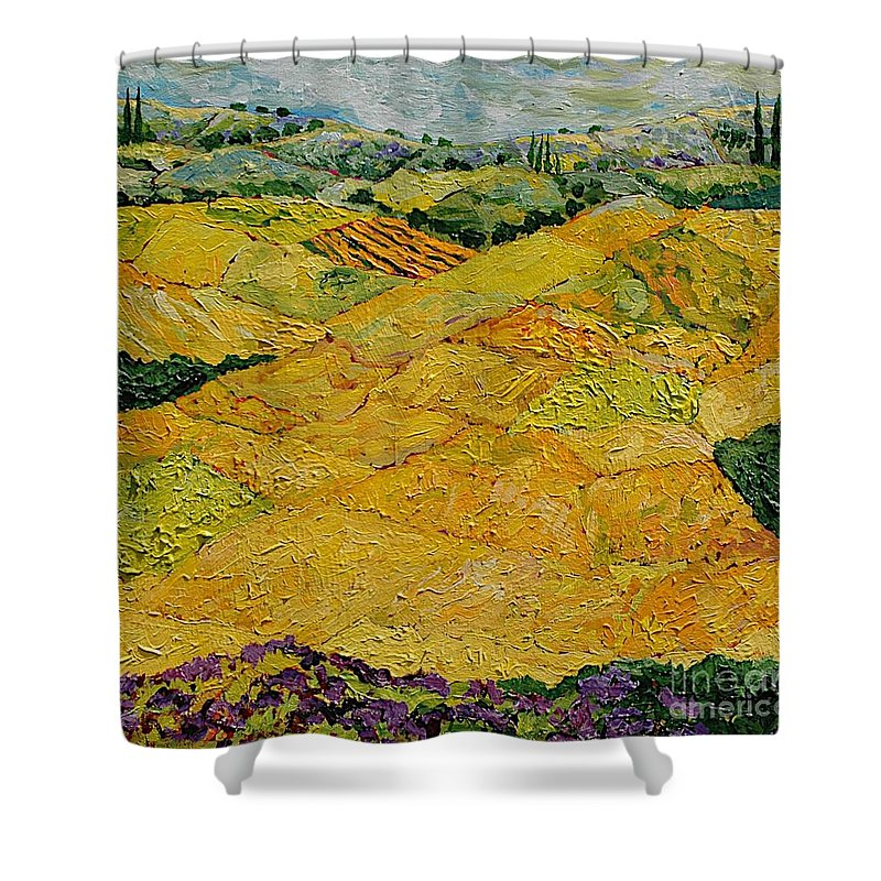 Landscape Shower Curtain featuring the painting Harvest Joy by Allan P Friedlander