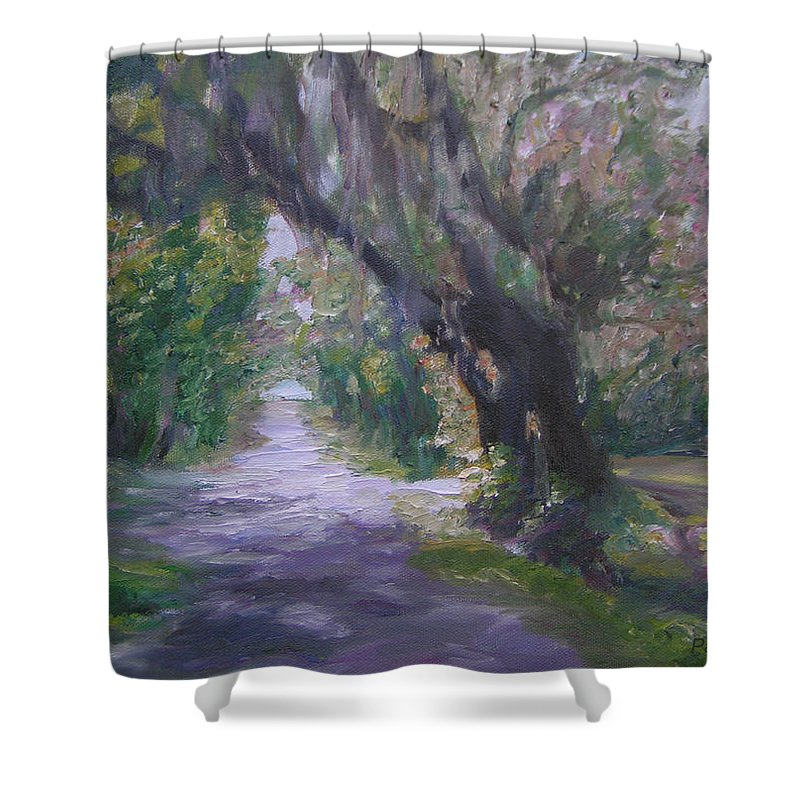 Hastings Shower Curtain featuring the painting Hastings Florida by Patty Weeks