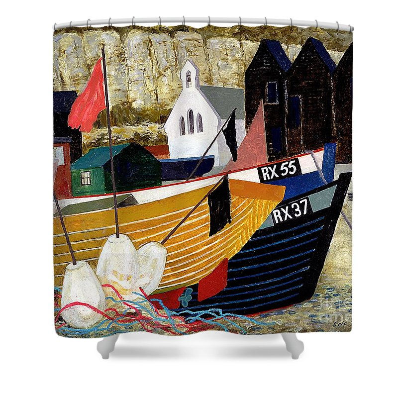 Coast Shower Curtain featuring the painting Hastings Remembered by Eric Hains