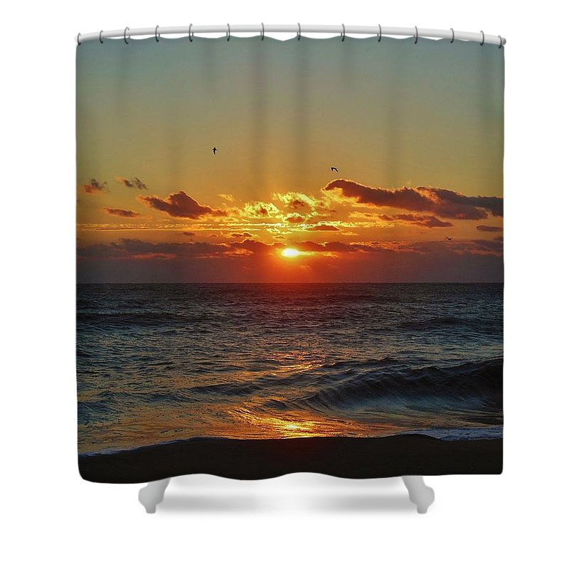 Mark Lemmon Cape Hatteras Nc The Outer Banks Photographer Subjects From Sunrise Shower Curtain featuring the photograph Hatteras Island Sunrise 4 11/03 by Mark Lemmon