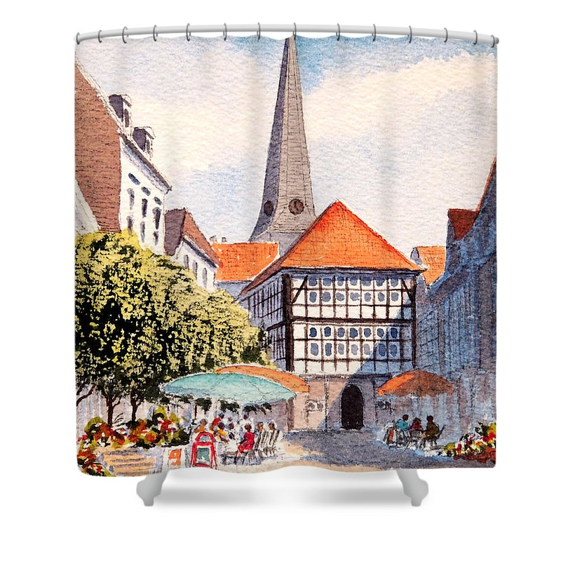 Hattingen Germany Shower Curtain featuring the painting Hattingen Germany by Bill Holkham