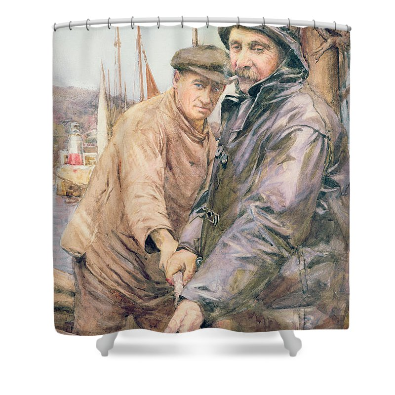 Cornish Shower Curtain featuring the drawing Hauling In The Net by Henry Meynell Rheam