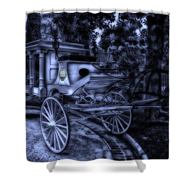 Disney Shower Curtain Featuring The Photograph Haunted Mansion Hearse At Midnight New Orleans Disneyland By Thomas