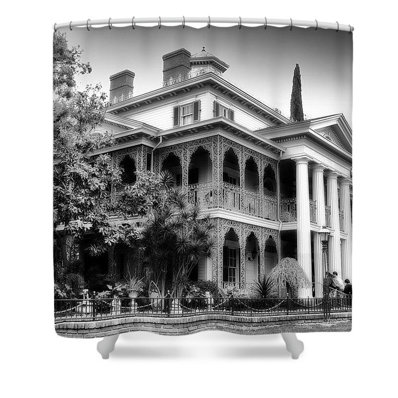 Disney Shower Curtain Featuring The Photograph Haunted Mansion New Orleans Disneyland Bw By Thomas Woolworth