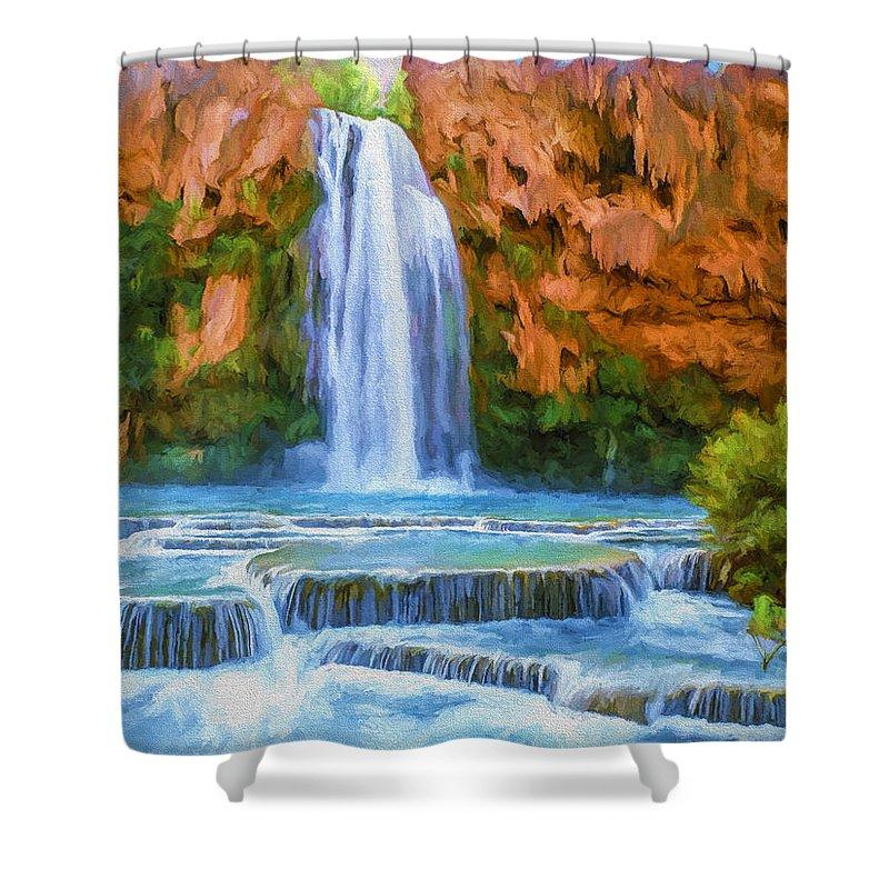 Fine Art Shower Curtain featuring the painting Havasu Falls by David Wagner