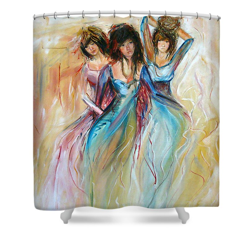 Contemporary Art Shower Curtain featuring the painting Having Fun by Silvana Abel