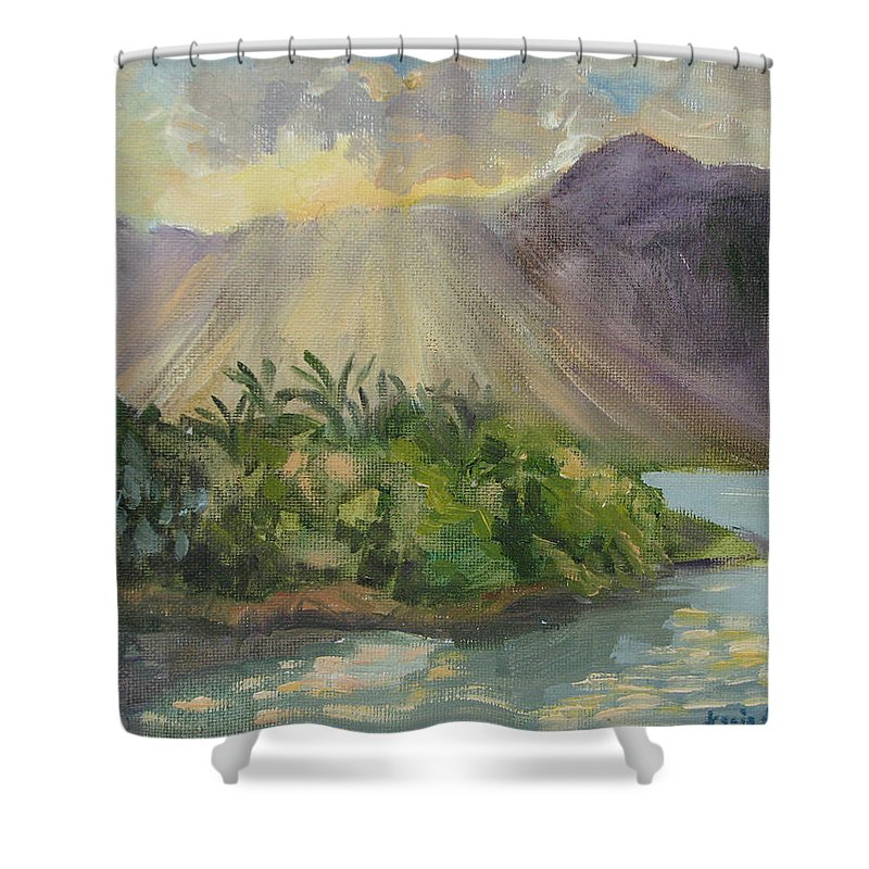 Hawaii Shower Curtain featuring the painting Hawaii Sunset by Karin Leonard