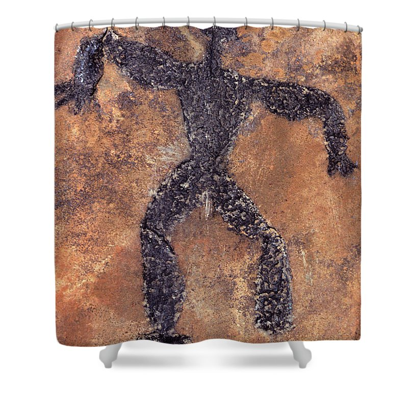 Photography Shower Curtain Featuring The Photograph Hawaiian Petroglyph Of Man On Rock By Vintage Images