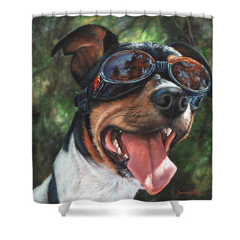 Dog Shower Curtain featuring the painting Hawg Dawg by Donna Hillman Walsh