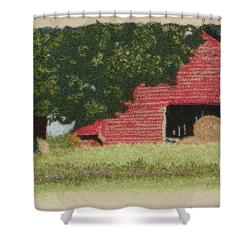 Fiber Shower Curtain featuring the mixed media Hay Barn by Jenny Williams