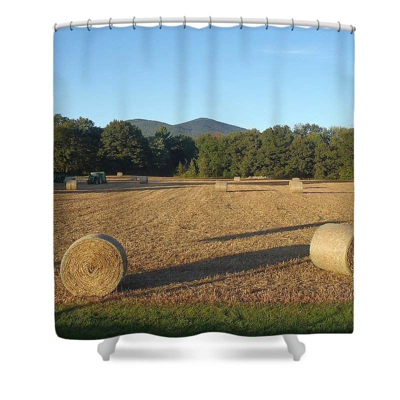 Hay Field Shower Curtain featuring the photograph Hay Field by Robert Nickologianis