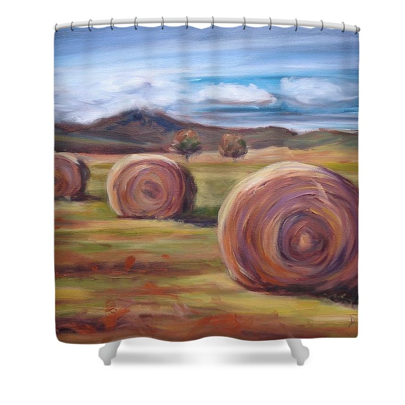 Virginia Shower Curtain featuring the painting Hay Harvest by Donna Tuten