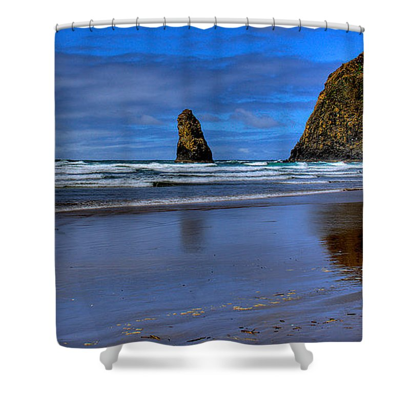 Cannon Beach Shower Curtain featuring the photograph Haystack Rock And The Needles II by David Patterson
