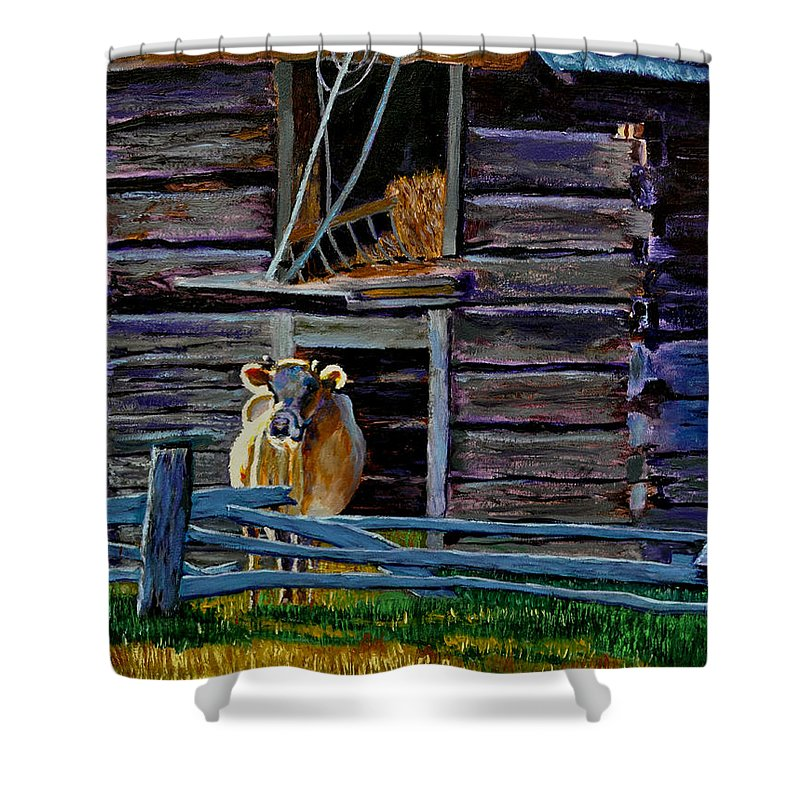 Cow Shower Curtain featuring the painting Hdemo2 by Stan Hamilton