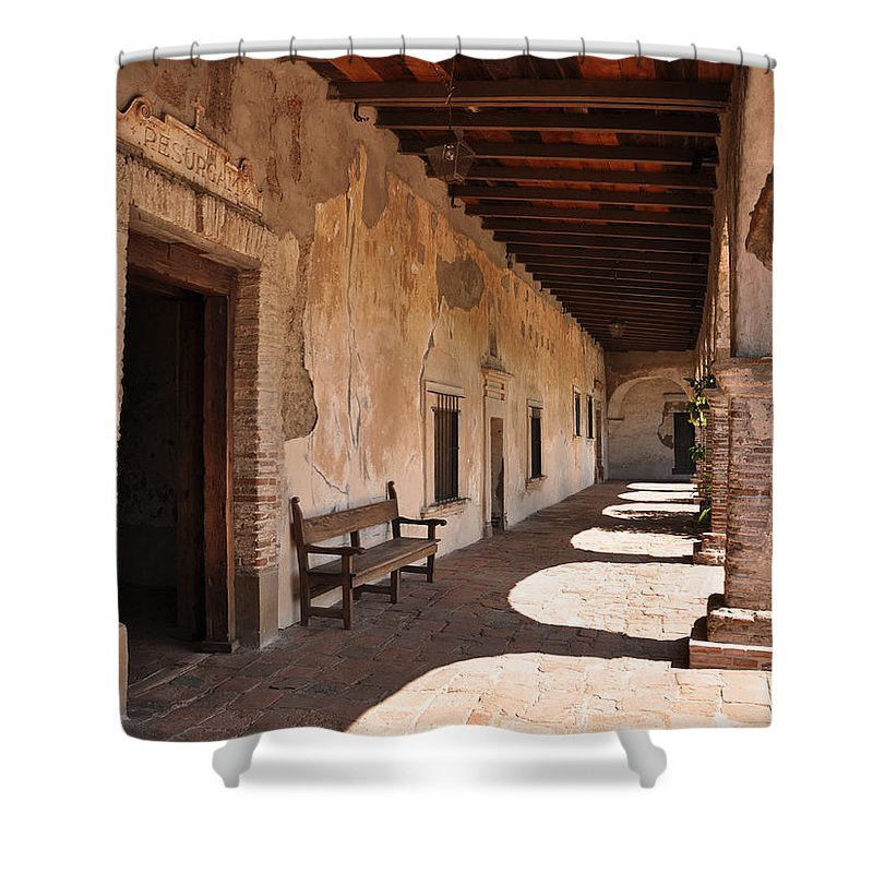 California Missions Shower Curtain featuring the photograph He Shall Rise Again, Mission San Juan Capistrano, California by Denise Strahm