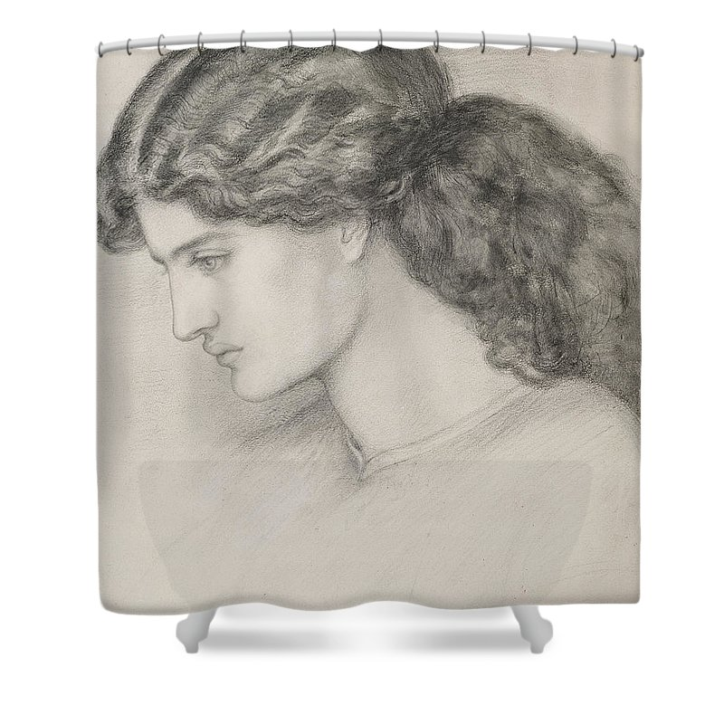 Female Shower Curtain featuring the drawing Head Of A Woman by Dante Gabriel Charles Rossetti