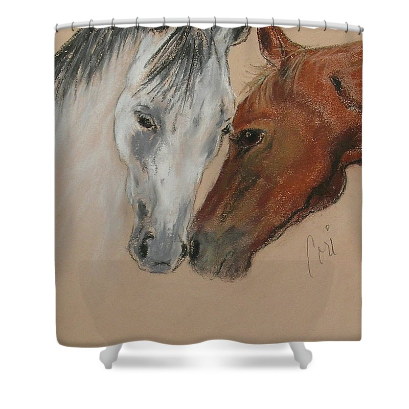 Horse Shower Curtain featuring the drawing Head To Head by Cori Solomon