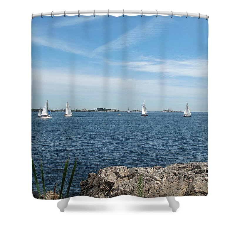 Seascape Shower Curtain featuring the photograph Heading Out by Barbara McDevitt