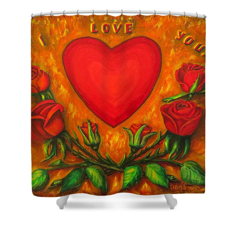 Happy Valentines Shower Curtain featuring the painting Heart And Roses Of Love by Zina Stromberg
