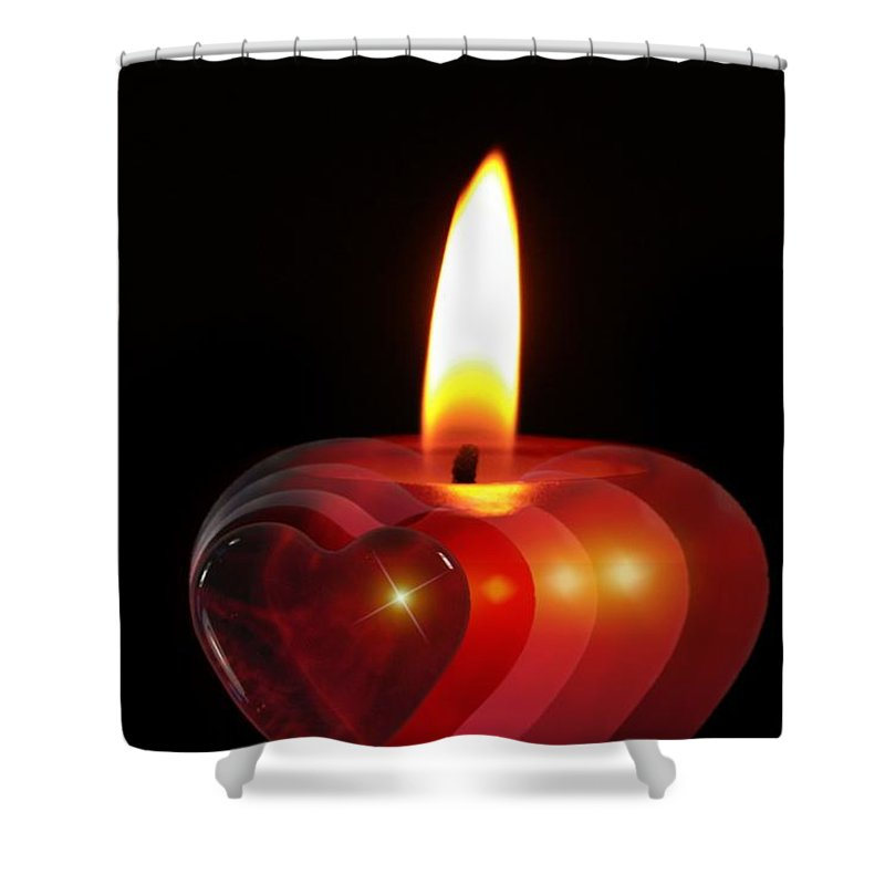 Love Shower Curtain featuring the photograph Heart Candle by FL collection