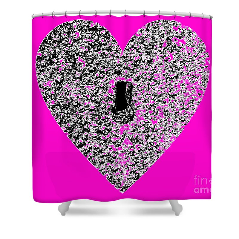 Heart Shower Curtain featuring the photograph Heart Shaped Lock - Pink by Al Powell Photography USA