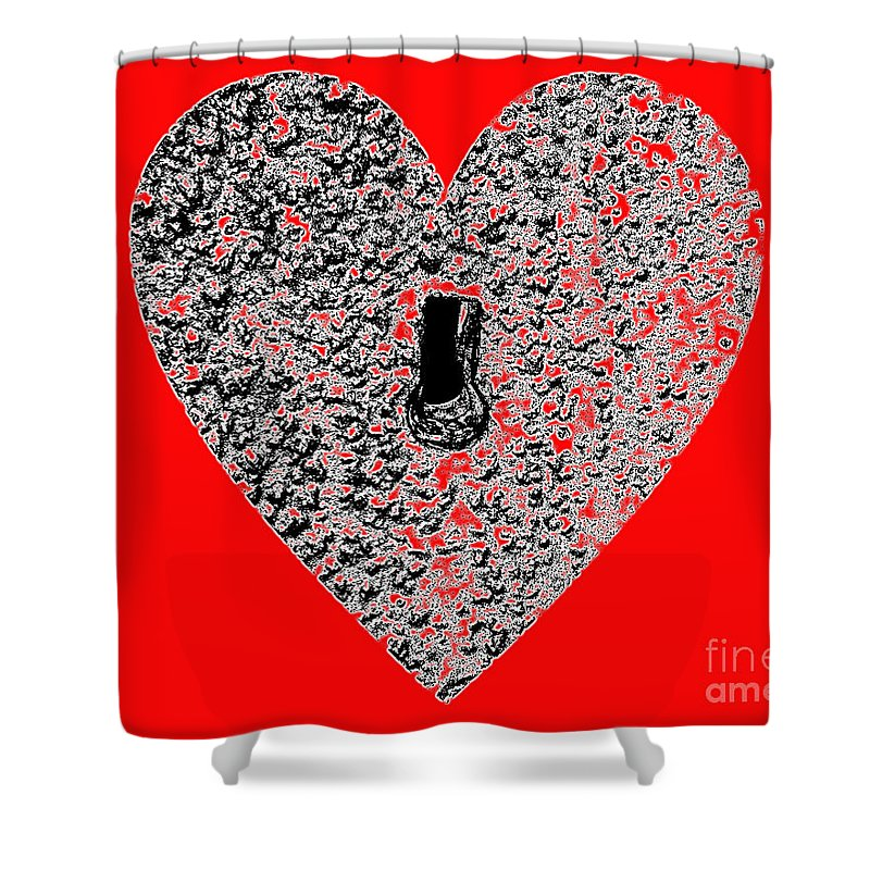 Heart Shower Curtain featuring the photograph Heart Shaped Lock - Red by Al Powell Photography USA