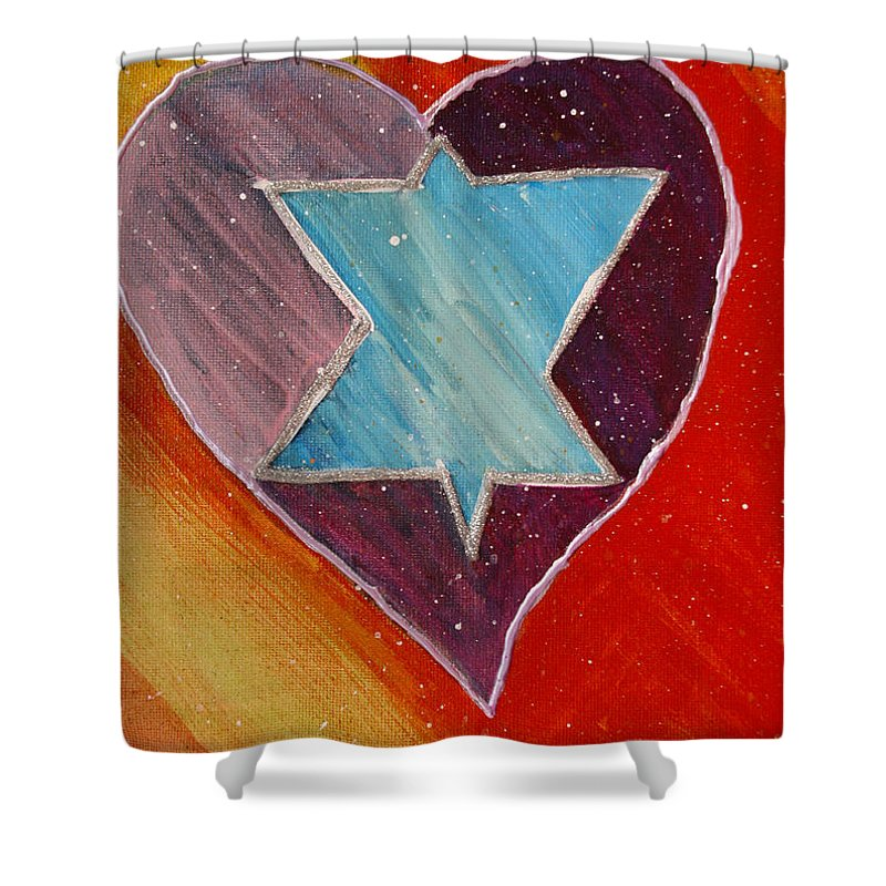Heart Shower Curtain featuring the painting Hearts And Stars Forever by Maura Satchell