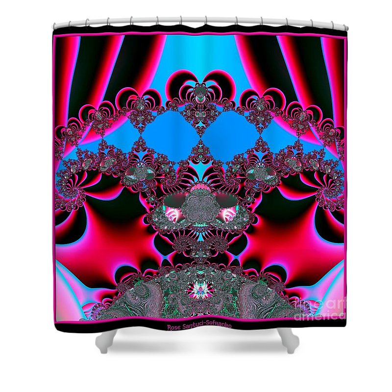 Hearts Shower Curtain featuring the digital art Hearts Ballet Curtain Call Fractal 121 by Rose Santuci-Sofranko