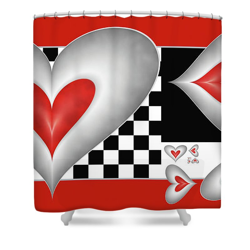 Hearts Shower Curtain featuring the digital art Hearts On A Chessboard by Gabiw Art