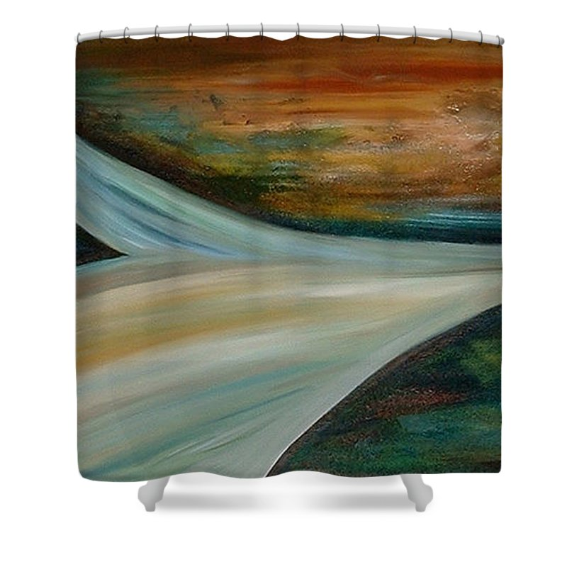 Abstract Shower Curtain featuring the painting Heaven by Silvana Abel