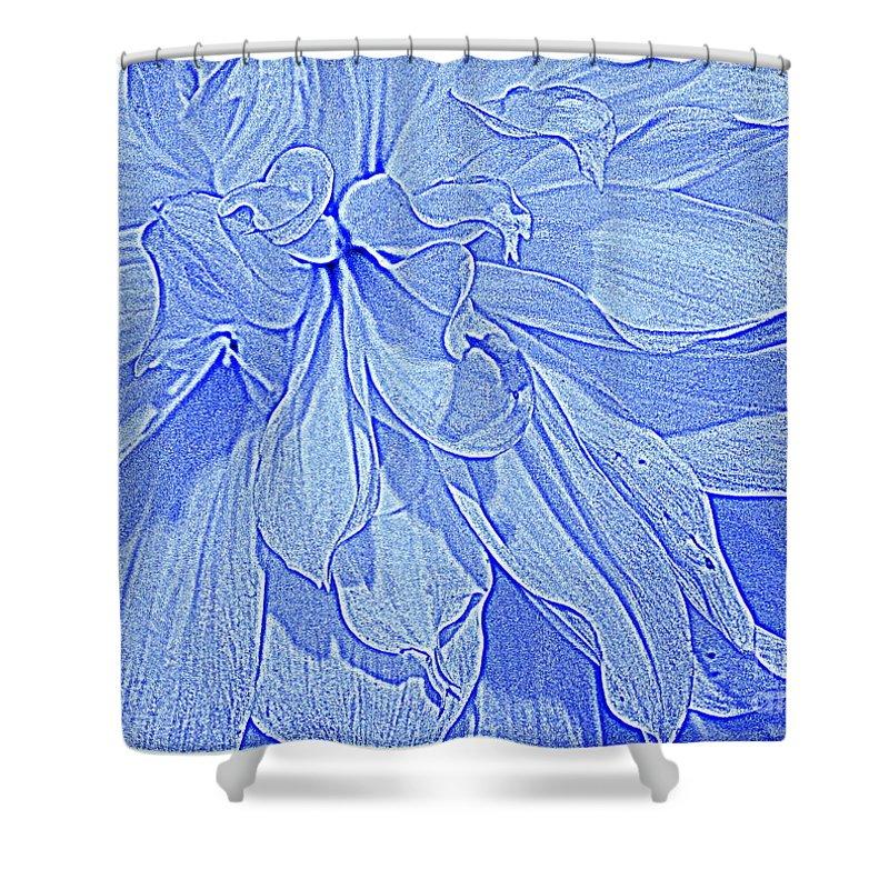 Heavenly Blue Dahlia - Dahlias - Florals - Nature -botanicals -pop Art - Plants Shower Curtain featuring the photograph Heavenly Blue Dahlia by Dora Sofia Caputo Photographic Design and Fine Art