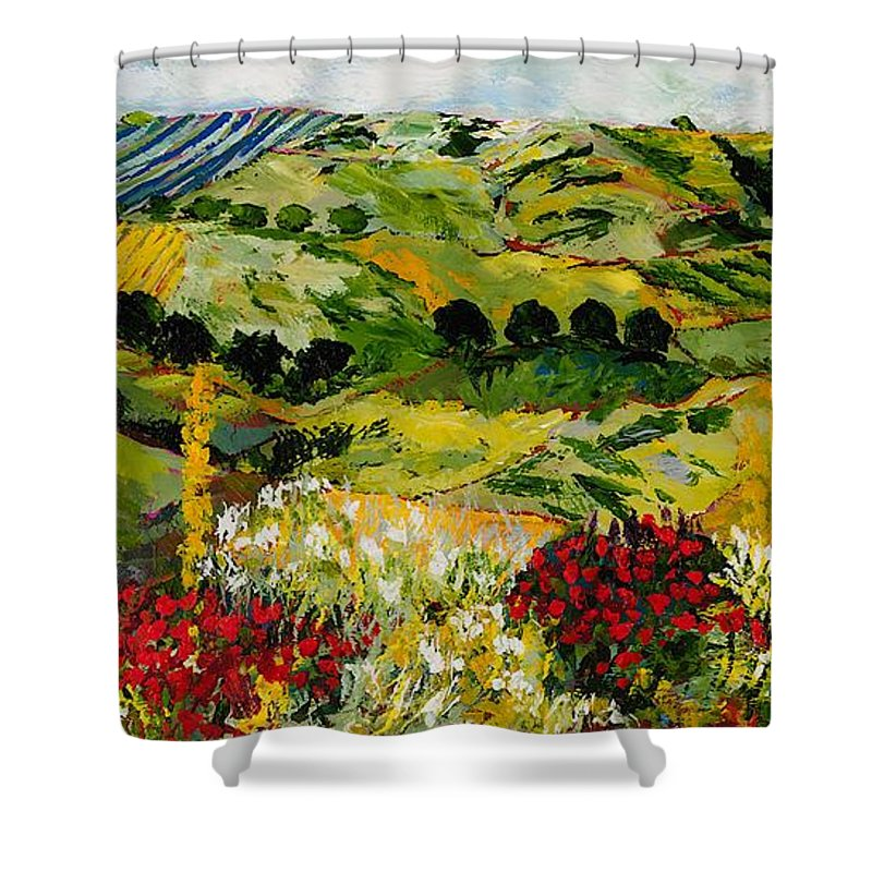 Landscape Shower Curtain featuring the painting Heavenly View by Allan P Friedlander