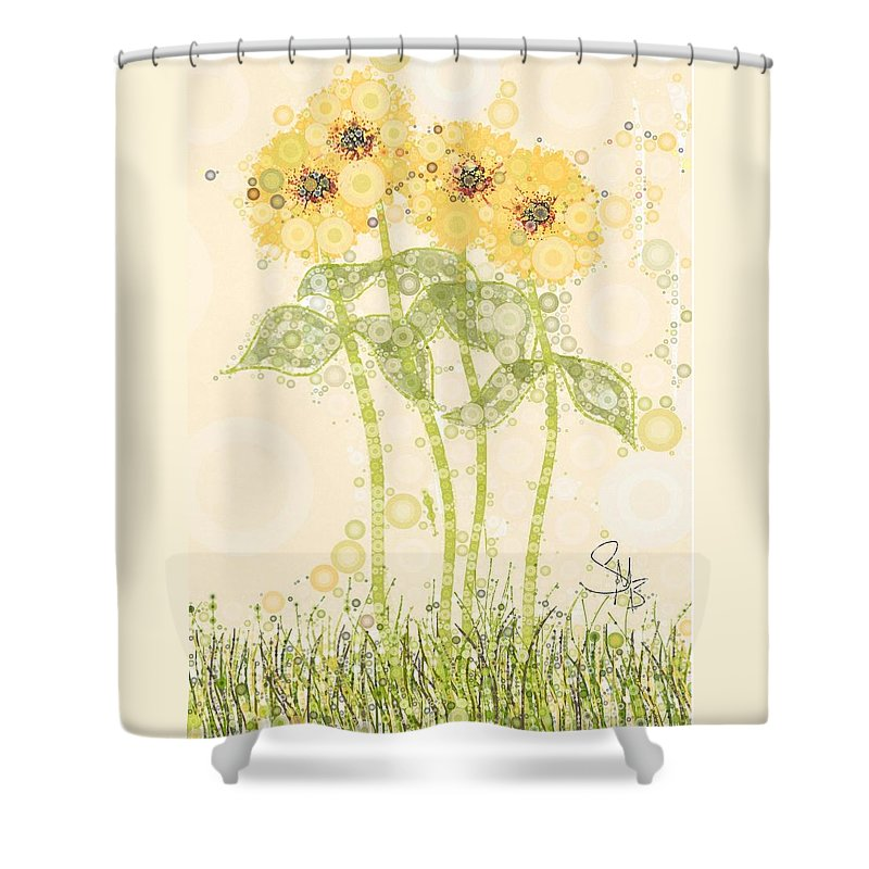 Flowers Growing In An Open Field... Greens Shower Curtain featuring the digital art Heavens Breath by Steven Boland