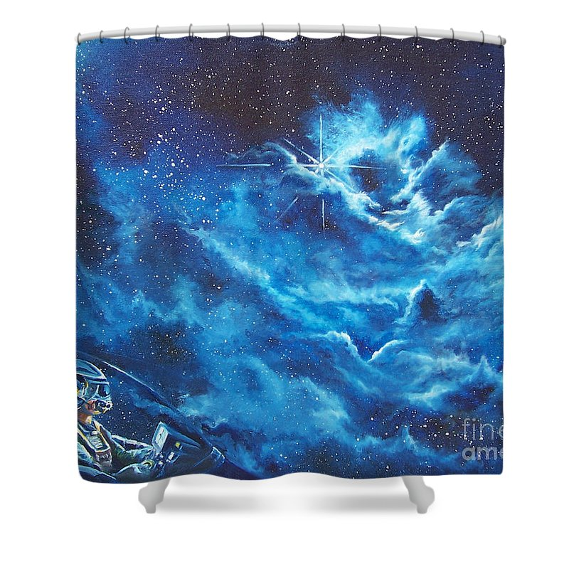 Astro Shower Curtain featuring the painting Heavens Gate by Murphy Elliott
