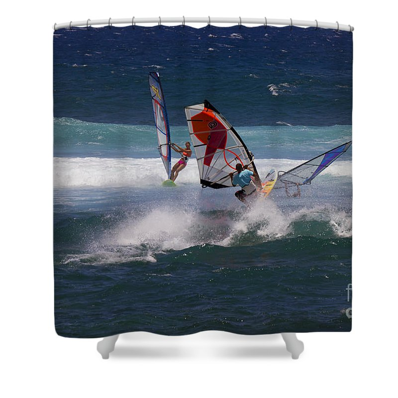 Ho`okipu. Maui Shower Curtain featuring the photograph Heavy Traffic by Mike Dawson