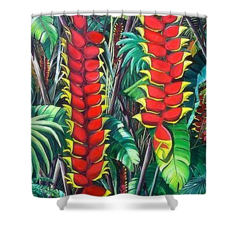 Heliconia Painting Hanging Red Heliconia Tropical Painting Shower Curtain featuring the painting Heliconia Rostrata by Karin Dawn Kelshall- Best