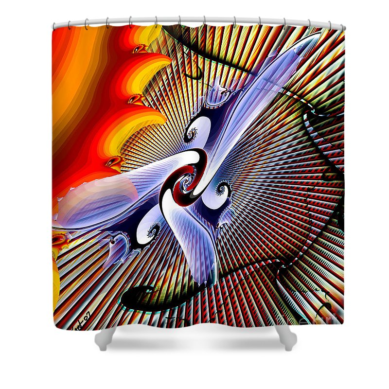 Helios Shower Curtain featuring the digital art Helios by Kimberly Hansen